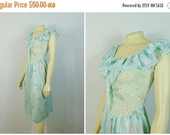 SALE Vintage Nightgown Aqua Blue Floral Satin & Lace Can Fit Size Small Medium or Large