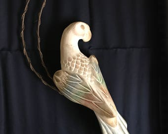 Hollow Chalkware Hanging Parrot on Crescent Moon Perch. Pastel Colors