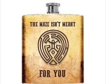 Westworld Flask TV Show The Maze Delores Mens Flask Womens Spoof Accessories West World Liquor 6oz Pocket Geek Hip Flask Gift