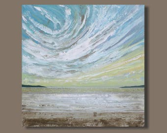 semi abstract painting, seascape painting, beach painting, wispy clouds, square, modern impressionism, landscape painting, ocean view, art