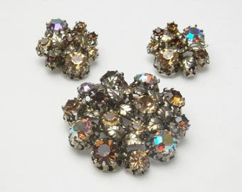 Austrian Aurora Borealis Rhinestone Signed Star Vintage Demi Parure 1950's Hollywood Glamour Costume Jewelry Brooch & Earrings Gift For Her