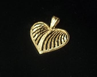 Vintage 1970's 14 K Solid Yellow Gold Open Work Heart Pendant Necklace Fine Jewelry Valentines Day Gift For Her Best Deal