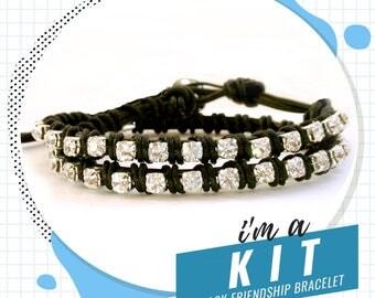 friendship bracelet kit, rhinestone leather wrap bracelet kit, DIY jewelry kit, DIY KIT, black bracelet kit, crystal bracelet kit