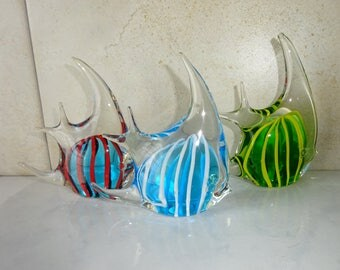 Vintage Glass Fish Murano Style Paper Weight Paperweight Set of 3 Blue Green Blown Glass Fish