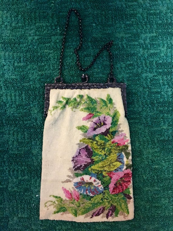 Edwardian German Floral Beaded Purse Sterling Silver w Beautiful Silk Lining