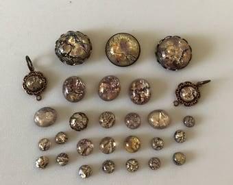 Destash Glass Opal Amethyst Cabochons