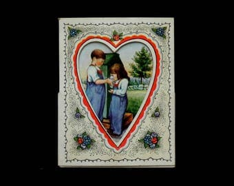 Vintage Antique Valentine's Day Card 1920's / Fold Out Valentine Card 1920
