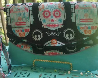Star Wars Droid Sugar Skull Foldover Clutch with Back Pocket and Wristlet  R2D2 and C3PO