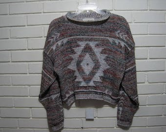 80's cropped sweater with Indian design oversize M