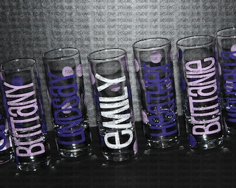 Personalized Shot Glasses - Bachelorette Party Shot Glasses - 21st Birthday Celebration Favors - Girls Night Out -  Bridesmaids Shot Glass