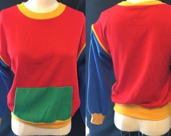 1970 Color blocked fleece with zipper sleeves small medium
