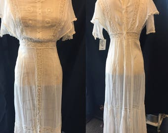 1910 antique delicate ivory wedding tea lawn summer dress xsmall small women's dress theatre red carpet