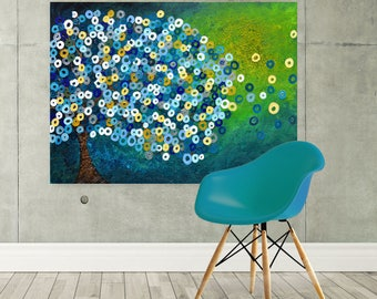 Large Tree Canvas Print - Teal Abstract Tree Canvas Picture - Teal, Green, Blue, Silver, & Yellow Abstract Tree of Life Canvas Picture