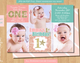 twinkle twinkle little star first birthday invitation twinkle twinkle little star first birthday invites 1st birthday invitation pink gold
