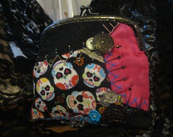 Sugar Sweet Skulls Handmade Purse OOAK Hand Embroidered Crazy Quilt Cotton Beaded Art Purse Day of Dead Goth Steampunk Festival Party Bag