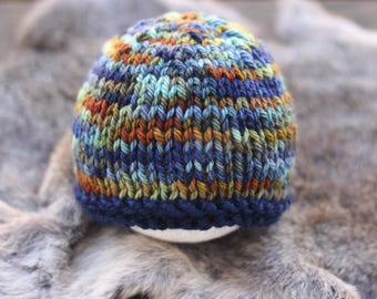 ready to ship, newborn photography prop, navy blue green orange beanie hat, 0-3 weeks-soft to skin luxury wool yarn, baby shower gift