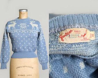 1940s Jantzen Reindeer Sweater Poder Blue Snowflake Wool Ski Sweater