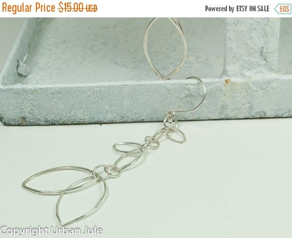 ON SALE Dangle Earrings - Fine Silver Dangle Earrings - Leaf Dangle Earrings