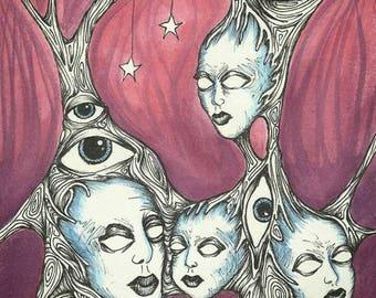 Starlit Nest original art