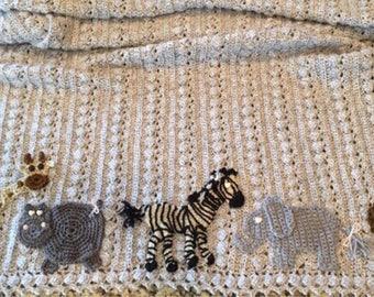 Hand crochet Safari baby blanket,2 sizes available, your choice of animals,Baby Tuckers custom design,soft quality baby yarn,FREE USA ship
