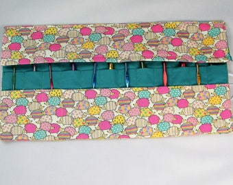 Crochet Hook Case. Double pointed needle roll. Hedgehog fabric