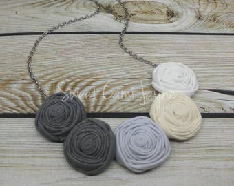 Gray Ombrè Fabric Rosette Necklace Fabric Flower Necklace Bib Necklace Statement Necklace Textile Necklace Wearable Art Bridesmaid Jewelry