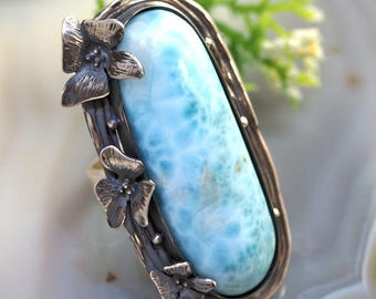 Larimar Ring Atlantis Stone Sterling Silver Jewelry