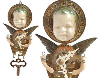 TIME FLIES, clock parts art doll, handmade ornament, mixed media assemblage, original steampunk art by Elizabeth Rosen