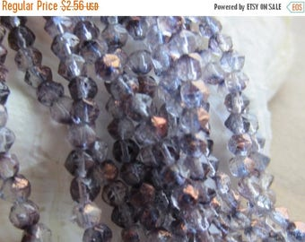 ON SALE Czech English Cut Glass Bead Light Amethyst Copper Luster 4mm Round 1 Strand