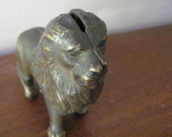 Vintage 1940's Brass Lion Bank