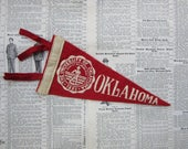 Vintage College Pennant Oklahoma University Small 9 x 4 Inch Aged Distressed Felt 1960s School Pennant Flag Dorm Collectible Sports A
