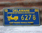 RARE Vintage License Plate Delaware Vintage 1988 Division of Parks & Recreation Surf Fishing Vehicle Auto Jeep Old Metal License Plate Sign