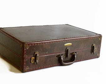 vintage Samsonite suitcase trunk marble brown 1930s 1940s luggage XL