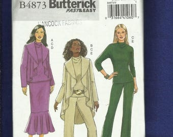 15% OFF SALE Butterick 4873 Drape Front High Low Hemline Jacket Pencil Skirt with Flounce & Pants Size XS..S..M Uncut