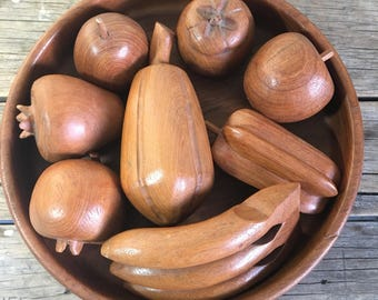 Wooden Fruit, Carved Wood fruit display, Apples, Mango, Banana, Pear, star fruit, persimmon