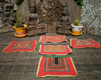 Embroidered Vintage Set of 5 Tribal Textile By The Hmong Hill tribe