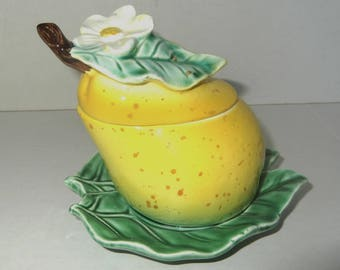 Vintage Jelly Condiment Jar Ceramic Yellow Pear Jelly Jar Condiment Jar On Green Leaf