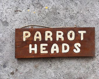 Beach Decor PARROT HEADS Sign Wooden Vintage Style by SEASTYLE