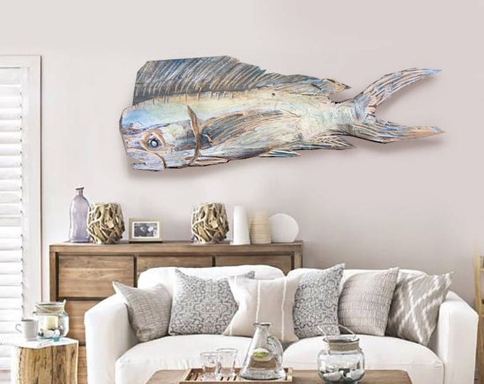 Driftwood Beach Décor Dolphinfish 2d sculpture by SEASTYLE