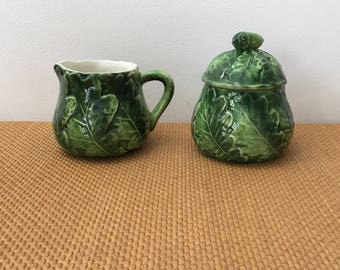 Vintage Hand Painted Vietri Green Oak Leaf Creamer and a Covered Sugar Bowl with an Acorn Lid, Made in Italy