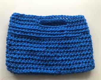 Handmade crochet blue bag