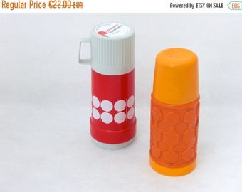 SALE 20% off Vintage Pair of Thermoses from Germany 80s - Orange / White / Red