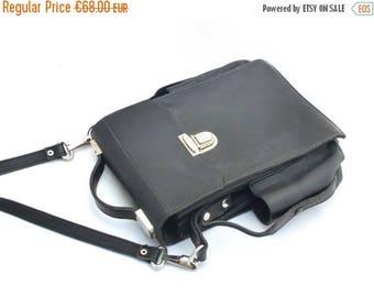 SALE 20% off Vintage Leather Bag 70s, Black Bag, Military Bag, Officer Military bag, Messanger bag, Unique bag, Gift for Him
