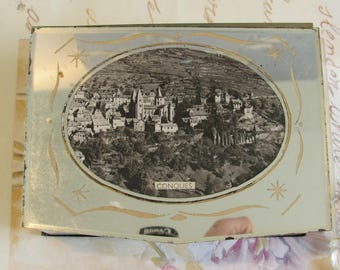 Antique, vintage French gorgeous mirrored souvenir box from the village of  'Conques'.