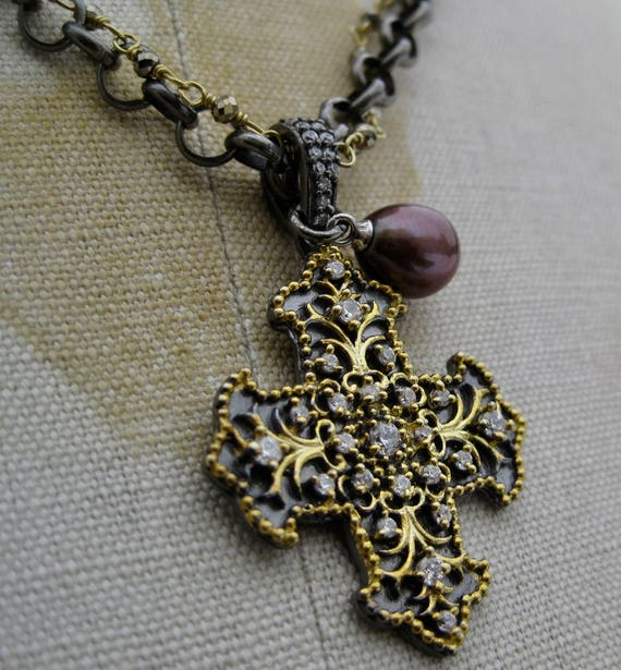 HELENA  Double Strands Sterling Silver, Vermeil + Pyrite Chains with Byzantine Cross Pendant
