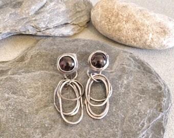 Silver Earrings - Garnet Earrings - Organic Hoop Earrings