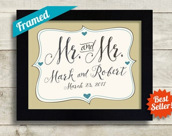 Gay Anniversary Gift for Couples Mr and Mr His and His Gay Wedding Couples Names Personalized Gay Couple Gift Gay Marriage Gift