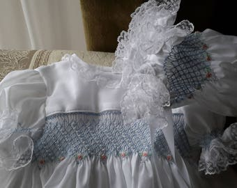 Hand Smocked Girls Dresses  ......Little Kisses With Slip & Pants Combo.....By The My Collection 2
