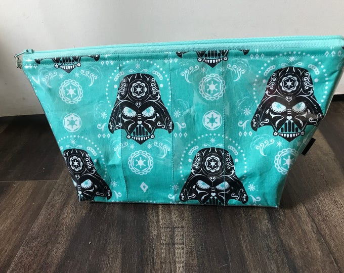 Handmade Sugar Skull Darth Vader Large Makeup Bag