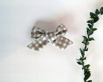 Girl's gray plaid hair bow clip girls vintage modern